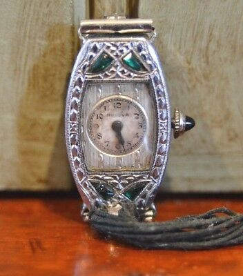 Vtg 1930 Ladies Art Deco Emerald Green BULOVA Watch MISS AMERICA Parts/Repair