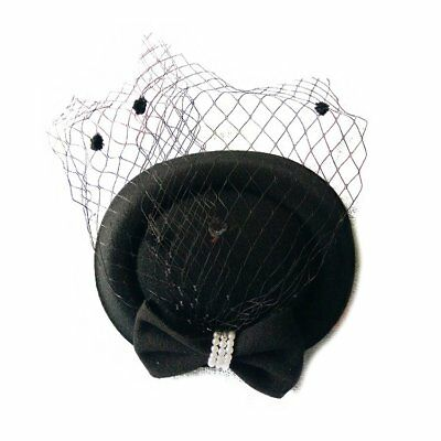 Women's Fascinators Hat Pillbox Hat Cocktail Party Hat with Dot Black A5F2
