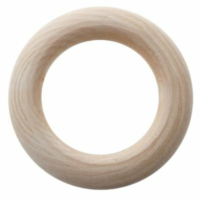 20pc Unfinished Teething Ring Add On Wooden Rings 55mm Natural 2.2 inches V4P9