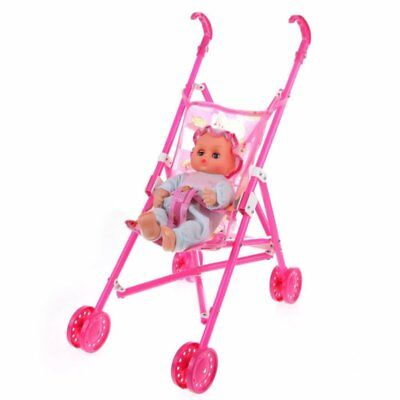 Dolls Buggy Stroller Pushchair Pram Foldable Toy Doll Pram Baby Doll I8G2