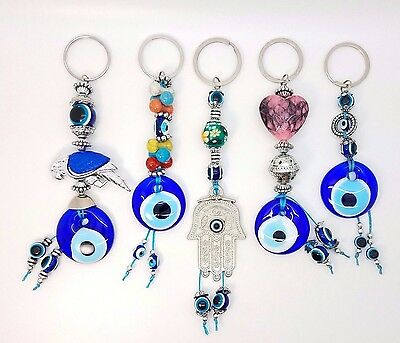 Set Five Blue Evil Eye Glass Keychain Ring Turkish Nazar Good Luck Charm Amulet