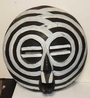 Wooden Carved Hand Painted African Face Wall Mask