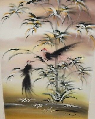 Chinese Birds Original Watercolor On Silk Painting Signed