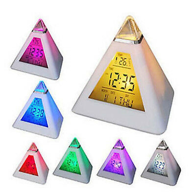 7 LED Color Digital Changing Pyramid Shape LCD Alarm Desk Clock Thermometer Date