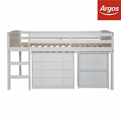 Kelsey Wooden Mid Sleeper Bed Frame With Desk - White