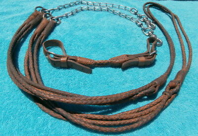 Braided Double Strand Vintage Horse Bridle Reins Curb Strap Rein Chains