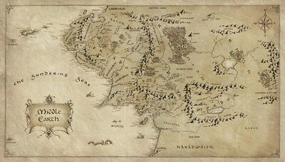 """012 Map of Middle Earth Lord Of The Rings - Hobbit Movie 24""""x14"""" Poster"""
