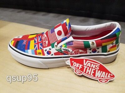 Vans Slip On World Cup 2018 White Multicolor National Flags Mens Womens Size 4-7