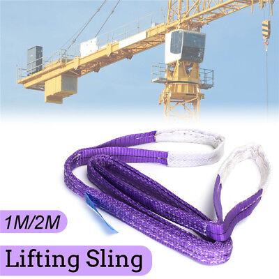1000KG/1 Ton 1M/2M Elingue Sangle de Levage Lifting Sling Strap Polyester Duplex