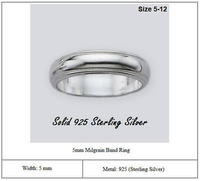 Solid 925 Sterling Silver Milgrain Band Ring Width 5mm Wedding Band