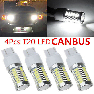 4X T20 7440 W21W 33SMD LED Canbus Car Reverse DRL Backup Fog Brake Light White