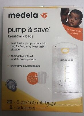 Medela Pump and Save Breastmilk Bags 20 ct. bags 2 adapters included