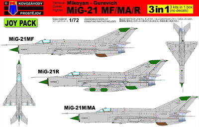 Kovozavody Prostejov 1/72 Mikoyan MiG-21 MF/MA/R Joy Pack (3 in 1 - NO DECALS) #
