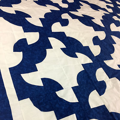 Navy Blue & White Drunkards Path QUILT TOP - Graphic Beauty