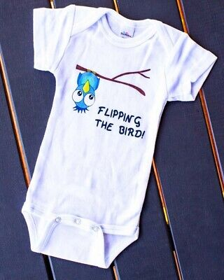 Flipping The Bird One Piece Baby Romper Playsuit Fun Cute Cool Novelty Gift Alt