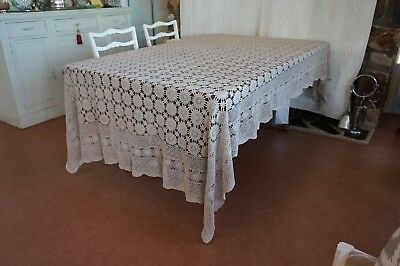 Extra Large Vintage Crochet Ecru Tablecloth Excellent Condition 275 x 180cm