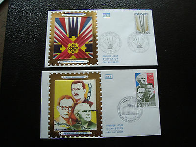FRANCE - 2 envelopes 1st day 1975 (release camp/demining) (cy41) french