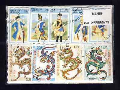Benin 200 stamps different obliterated