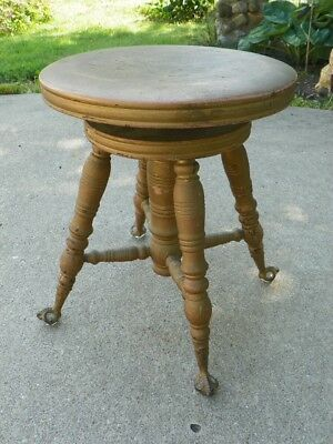 Vintage Piano Stool Antique Piano Seat 1800s Plant Stand End Table Night Stand