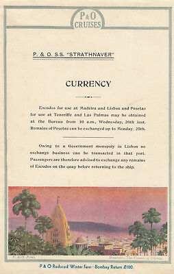 """Currency Notice, P.&O. Lines' S.S. """"STRATHNAVER"""" 1910-30s ; India"""
