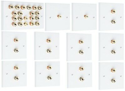 9.2 SOLDER-LESS White Speaker Audio Wall Face Plate Complete kit Banana Plugs