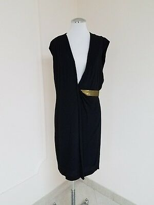 82d89b2b Diane Von Furstenberg Evangeline Sleeveless Bis Black Wrap Sheath Dress Sz  10