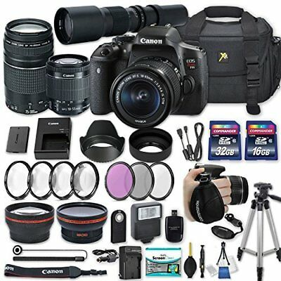 Canon EOS Rebel T6i DSLR Camera with (3) Lenses + Accessories Bundle (25 Items)