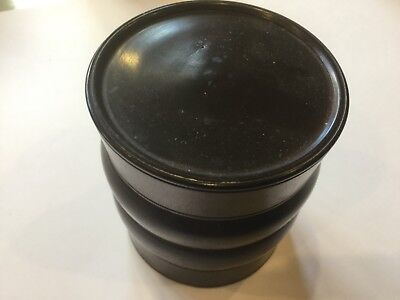 Antique Turned Wooden Pot With Flat Top Lid
