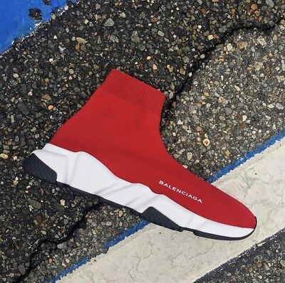 Rare Balenciaga Speed Mid Trainer Knit Sock Women's Sneaker Shoes Size 39 Red
