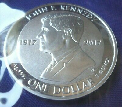 2017 British Virgin Islands John F Kennedy JFK 1 oz 999 BU Silver Round Coin 134