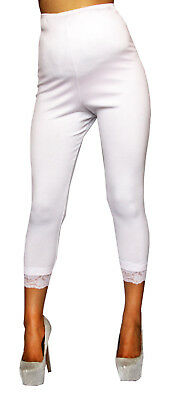 White Maternity Leggings Lace Solid Pregnancy Bottoms Fitted Above Ankle Band