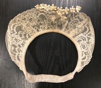 1940'S BRIDAL HEADPIECE WITH WAX FLOWERS w TULLE VEIL