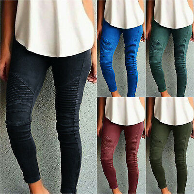 Women Skinny Leggings Stretch Pants Jegging High Waist Ripped Trousers Size 8-22
