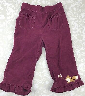 Gymboree Baby Toddler Girl 12-18 Months Pants Plum Fox Corduroy Forest Trails