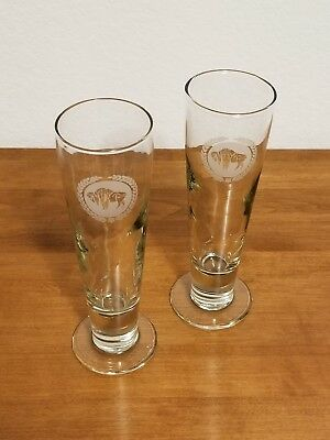 Gorgeous Vintage Set of Two Frosted Buffalo Reef 12 oz Footed Pilsner Glasses