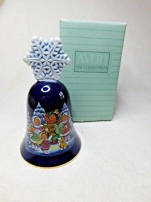 "1987 Avon Christmas Porcelain Bell, Collectible, sz: 5"" tall,  original box"