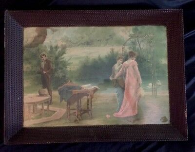 Magnificent Antique Large Tramp Art Frame & Glass Exceptional Detail