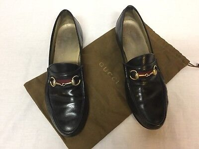 02a0342e9a8 VINTAGE GUCCI HORSEBIT Loafers Black Shoes Italy Size 13.5 D Mens ...