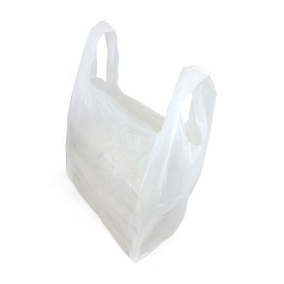 1000 x PLASTIC LARGE CARRIER BAGS WHT STRONG VEST SHOPPING SUPERMARKET 11X17X21""