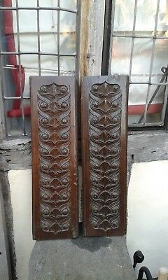 A Lovely Pair of Early Heavy Solid Oak Hand Carved Panel C1800.