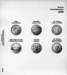 Lindner 1108D05 Pagine illustrate 10 Euro monete commemorative Germania 2005