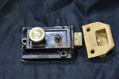 Antique VintageCast Iron PENN Hardware Co Door Lock & keeper/ strike Reading PA