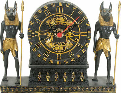 "Ebros Ancient Egyptian God Anubis Table Clock Figurine 6.75"" Long Collectible"