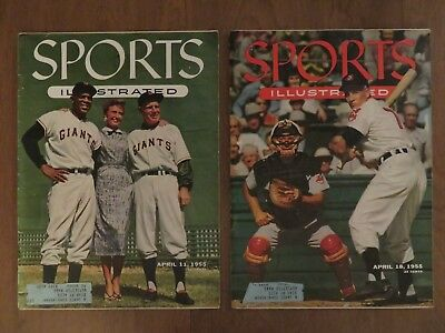 Lot of 2 April 11 + 18 1955 Sports Illustrated with Topps baseball cards inside