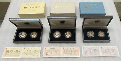 1986-1988 Seoul Olympic Lot of 6 - 1000 & 2000 Won Coin in Original Cases