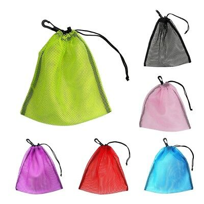 Drawstring Mesh Nets Bag Pouch Dive Reel SMB Golf Tennis Ball Holder Storage