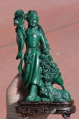 Chinese Malachite Carved Carving Lady Dog Puppy Basket Figure Wood Stand - AS IS