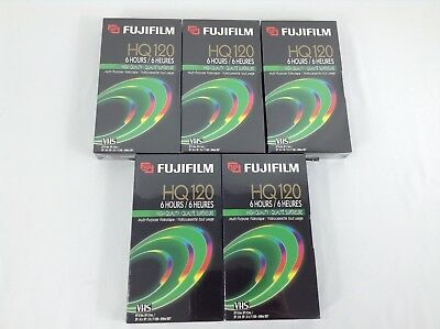 Fujifilm HQ 120 VHS Lot of 5 Tapes Never Used Sealed