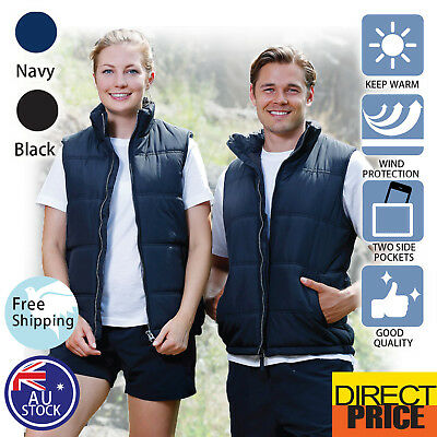 Mens Womens Quilted Vest Unisex Casual Pongee Shell Winter Warm inner pocket
