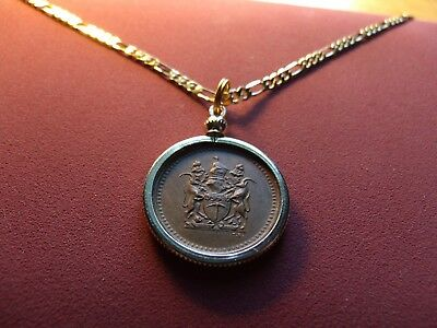 "1973 Rhodesia Bronze Antelope Coin Pendant on a 24"" 18k Gold Filled Figaro Chain"